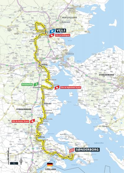 Kort over ruten på 3. etape